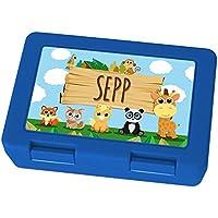 Preisvergleich für Brotdose mit Namen Sepp - Motiv Zoo, Lunchbox mit Namen, Frühstücksdose Kunststoff lebensmittelecht