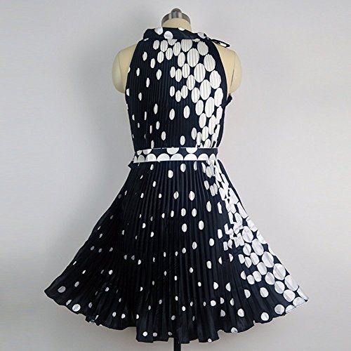 SaiDeng Femmes Rétro Années 50 's Rockabilly Pour Mariage Ou Bal Pinup Dos Nu Robe Robe Imprimée Avec Ceinture Noir