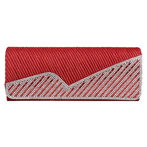 Damen Strassstein Einfarbig Elegant Damara® Falten Pailletten Abendtaschen In Rot Glänzen X45qRaWZP