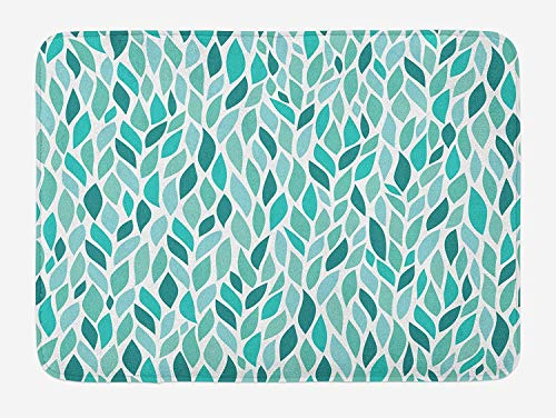 BUZRL Spring Bath Mat, Windy Springtime Leaves Trees and Branches Greenery Fun Joyful Abstract, Plush Bathroom Decor Mat with Non Slip Backing, 23.6 W X 15.7 W Inches, Teal Turquoise White (Rv-monster-truck)