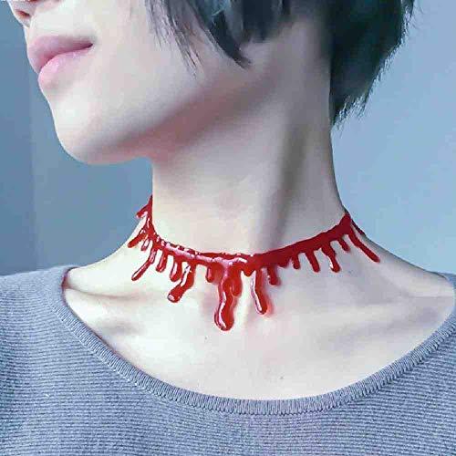 OLUYNG Halloween Kostüme Blut Tropfen Halskette Vampire Bloody Halsketten Halloween Party Frauen Dekorationen Zubehör