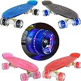 LAND SURFER® Retro Cruiser, komplettes Skateboard mit dreifarbig gemustertem - Farbige Achsen 56-cm-Deck – ABEC-7-Kugellager – PU-Räder (59 mm) + Tragetasche