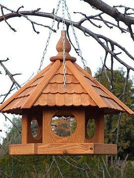 Vogelhaus 6-eckig hängend teak mit Stege für Meisenringe imprägniert