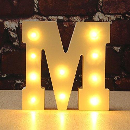 Letter Alphabet, VSOAIR Dekorative Oben in Lichter Hölzerner Alphabet-Buchstabe Warmes Weißes MDF, mit batteriebetriebenem LED-Lichter, Buchstabe (M)