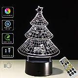 EFGS 3D Illusion Lampe, LED Optische Täuschung Multi-Color-Nachtlicht, Fernbedienung USB Lade Kleine Tischlampe, Halloween Weihnachten (Weihnachtsbaum)