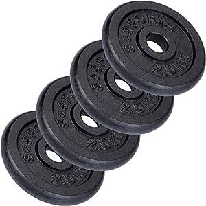 ScSPORTS 10 kg Hantelscheiben-Set, 4x 2,5 kg, Gusseisen Gewichte, 30/31 mm Bohrung