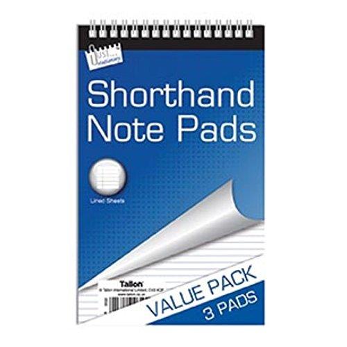 3 x Stenografie Notizblöcke Notebook Block Liniert Top Spiralbindung Spiralbindung Wert Briefe