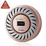 Detector de CO Alarma de monóxido de Carbono, Sensor electroquímico Batería de Litio Recargable CO Probador de Gas, USB Enchufe Monitor de CO con Pantalla OLED Digital para el hogar/Caravana(Champán)