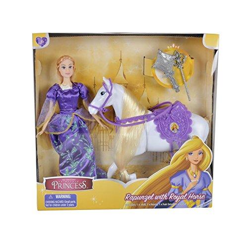 El cuento de hadas de Toon Studio Princesa Rapunzel con caballo real y accesorios - Juguetes de niñas