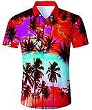 TUONROAD Prime Day Hawaii Outfit Männer, Urlaub Hemd Strandhemd Freizeithemd Hawaii-Print mit Kurzarm Coole Herrenhemden