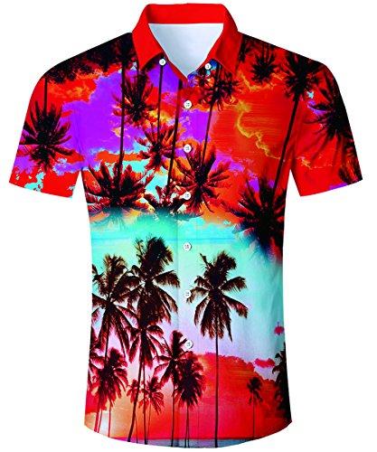 it Männer, Urlaub Hemd Strandhemd Freizeithemd Hawaii-Print mit Kurzarm Coole Herrenhemden (Hawaii-party-outfits)