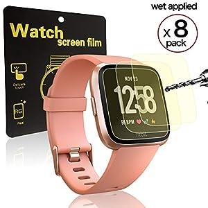 GikPal Fitbit Versa Displayschutz, Ultra-Clear Transparent HD PBA Schutzfolie mit Anti-Fingerprint Anti-Scratch und blasenfreie Funktion für Fitbit Versa Smartwatch [8 Pack]