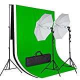 Amzdeal Kit Eclairage de Photo Studio , Kit Complet avec 2 Parapluies Photo (Diamètre : 80cm) + 3 Toiles de Fond (3*1.6m Noir / Blanc / Vert) + 2* 135W Ampoules E27 + Support de Fond (2*3m) et 2 Trépieds pour Parapluies Réglables en Aluminium + Sac de Transport