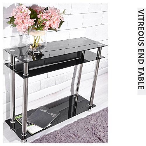 3 Tier Glass Console Table with Chrome Legs, Narrow Side Table for Living Room, Hall Entryway Table, Hallway Furniture, Black