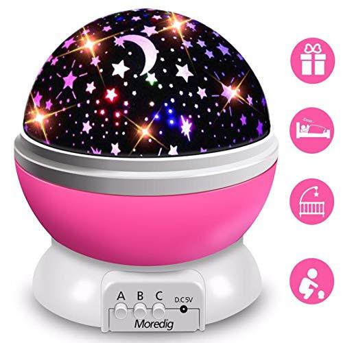Moredig Proyector Estrellas, 360° Rotación Romántica Luz Estrellas y 8 Modos, Regalo para Niños y Bebés Cumpleaños, Día de los Reyes, Navidad, Halloween etc (Rosa)