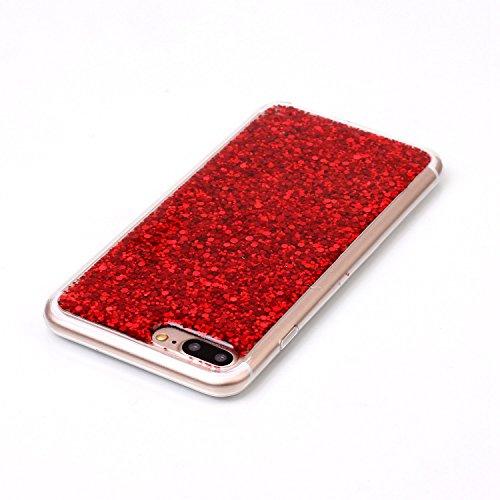 Custodia per iPhone 7 Plus / iPhone 8 Plus 5.5 Sparkling Glitter - Girlyard Morbida Silicone Case Glitter Bling Opaco Brillantini Luminosa Lucido Disegni Puro Paillettes Antiurto Sottile per Apple iP Rosso