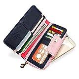 Auger Multi-Card Position Zwei Falten Lange Reißverschluss Geldbörse Lange Reißverschluss-Mappen-Handhandtasche der Frauen Dunkelblau - 4