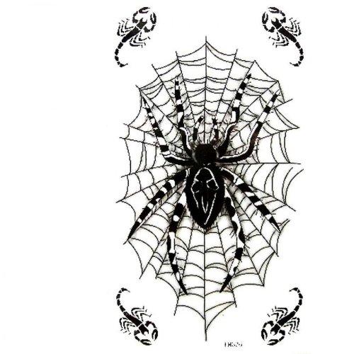 Wasserdicht und Schweiß Fake Tattoos Männer und Frauen Mode sexy schwarzen Spinnennetz Skorpion