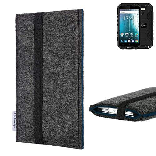 flat.design Handyhülle Lagoa für Oukitel K10000 MAX | Farbe: anthrazit/blau | Smartphone-Tasche aus Filz | Handy Schutzhülle| Handytasche Made in Germany