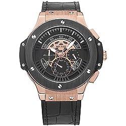 Para hombre Megir relojes de cuarzo Big Bang estilo Rose oro caso Cronógrafo Multifunción