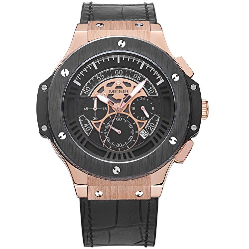 megir Herren Quarz-Uhren Big Bang Stil Rose Gold Fall Chronograph Multifunktions