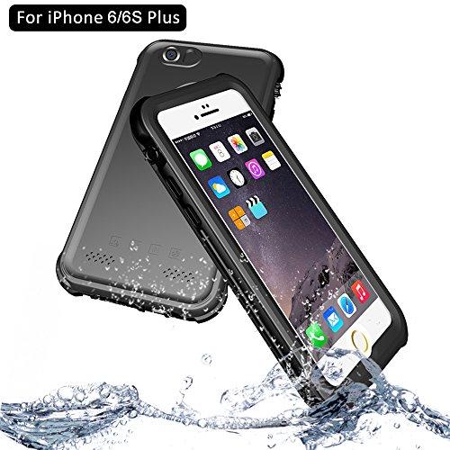 NewTsie iPhone 6/6s Plus Wasserdicht Stoßfest Hülle, IP68 Zertifiziert Schutzhülle Staubdicht mit Eingebautem Displayschutzfolie für Apple iPhone 6/6s Plus 5.5 inch (P-Schwarz)