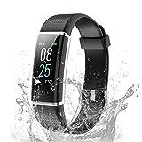 TOOBUR Unisex Youth socken, IP68 Wasserdicht Fitness Tracker Uhr mit Pulsmesser Schrittzähler Schlafmonitor und Kalorienzähler, Aktivitätstracker Smartwatch für Damen Herren, N-Schwarz