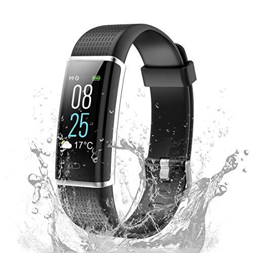 TOOBUR Fitness Armband, IP68 Wasserdicht Fitness Tracker Uhr mit Pulsmesser Schrittzähler Schlafmonitor und Kalorienzähler, Aktivitätstracker Smartwatch für Damen Herren-Schwarz