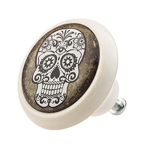 Möbelknopf 03325W Totenkopf Skull Keramik Vintage Antik Porzellan -