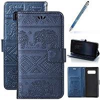 Robinsoni Fundas Compatible con Samsung Galaxy Note 8 Funda Libro Billetera Carcasa Cuero de PU Funda Folio Flip Funda Libreta Fundas con Tapa Cuero con Monedero Funda 360 Grados Funda Elefante Azul