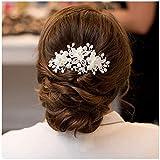 SWEETV accessoire coiffure mariage Mariage Peignes à cheveux décoratifs Cheveux Pinces à Cheveux Cristal Perle Nuptiale Diadème Accessoires
