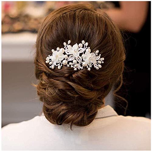 SWEETV Hochzeit Haarkämme Haarnadeln Elfenbein Perlen Klipp, Brauthaar Stück Damen Haarschmuck für Bräute - Braut-haar Pins