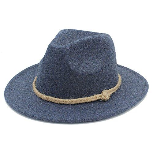 (JDON-HAT, Retro breiter breiter Fedor Hut der Wollfrauen für Laday-Kaschmir-Jazz-Kirchen-Kappe Herr Panama-Sombrero-Spitzenhut Hanfseil (Color : 2, Size : 57-58cm))