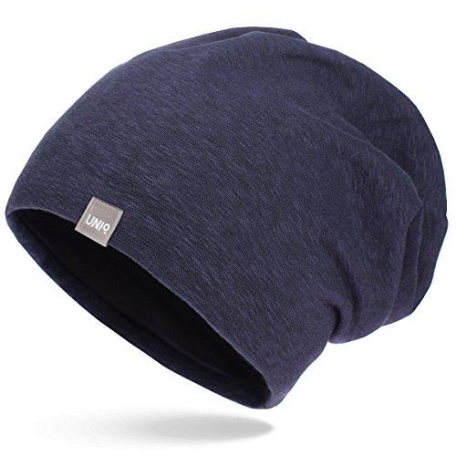 UNIQ Long Beanie Strickmütze   Damen und Herren   Slouch Mütze Oversize Unisex Atmungsaktiv meliert Baumwolle   für das ganze Jahr   weicher Stoff - navy