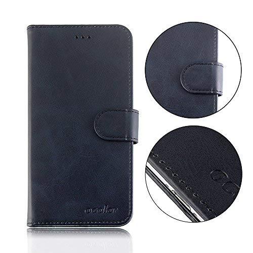 95Street Handyhülle für Blackview P6000 Schutzhülle Book Case für Blackview P6000, Hülle Klapphülle Tasche im Retro Design mit Praktischer Aufstellfunktion - Etui Schwarz