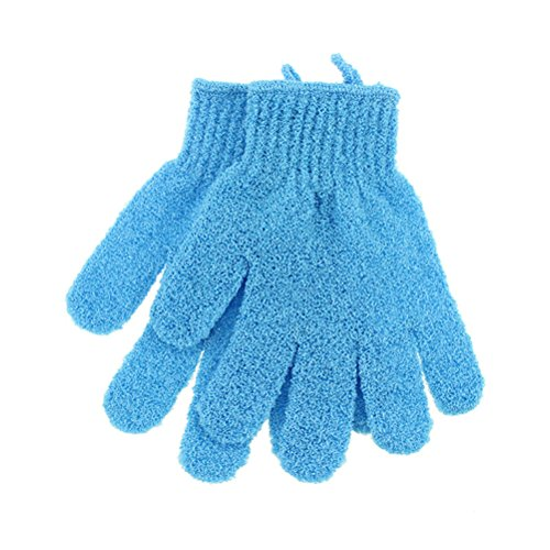 Frcolor Bad Peeling fünf Finger Handschuh Dusche Sauna Scrubber Mitt für Männer Frauen (blau), 1 Paar Blau Mitt
