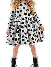 Vestido Niñas, Brawdress Lindo Patrón de Gato Vestido Plisado Vestido Elegante