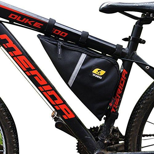 YANHO Oxford Gewebe Dreiecktasche Triangel Tool Bag Lenkertaschen Fahrradtasche große Kapazität Utensilientasche Radtasche für Radsport Bergsteigen Camping Trekking Outdoor (Rahmentasche Leder)