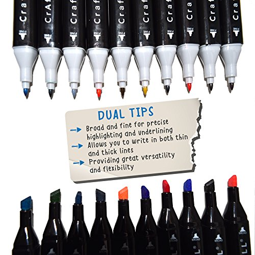 Fabric Markers 12 Pack Dual Tip MINIMAL BLEED Rich Pigment Fine Permanent Graffiti Coloring Fabric Pens by Crafts 4 All®. Child Safe & Non Toxic
