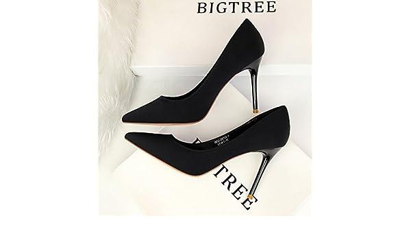 Xue Qiqi design élégant et simple Soo-hyun fine fine high-heeled avec pointe de buse lumière nuit chaussures pour femmes chaussures à talons hauts chaussures unique,35, noir