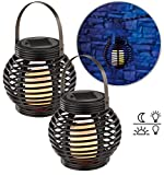 Lunartec Garten Licht: Solar LED Rattanleuchte Zum hängen Oder Stellen 2er-Set (Solar-LED-Dekoleuchte)
