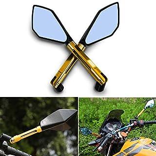 1 Paar Motorrad LenkerendeSpiegel Rückspiegel Seitenspiegel 8mm 10mm CNC Universal Aluminium Lenkerende Spiegel Roller Drehbare Scooter Rückspiegel Golden