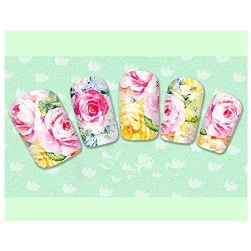 Born Pretty 1 Planche Sticker Water Decals Déco Ongles Nail Art Fleur Dessin Coloré
