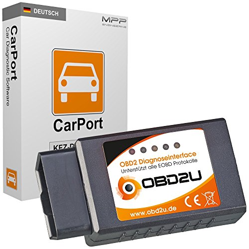 OBD2U EOBD Bluetooth Diagnoseinterface inkl. CarPort Basic OBD Diagnosesoftware - OBD2 Diagnosegerät für alle Fahrzeuge