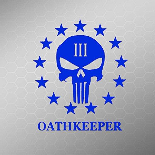 Punisher 3 Percenter Oath Keeper Vinyl Decal Sticker | Cars Trucks Vans Walls Laptops | Blue | 5.5 In | KCD606BL