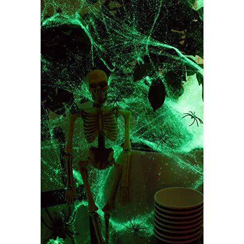 Leuchtendes Spinnennetz in Premium QUALITÄT │ 100 Gramm XXL Netz inkl. 31 Spinnen │ Glow IN The Dark │ Spinngewebe Deko Vorhang │ ideal geeignet für die Halloween Party für Kamin, Fenster, Türen usw. - 5