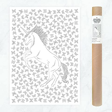 Large Unicorn Coloring Poster with Butterflies Patterns to Color In for DIY Dorm Room Decor