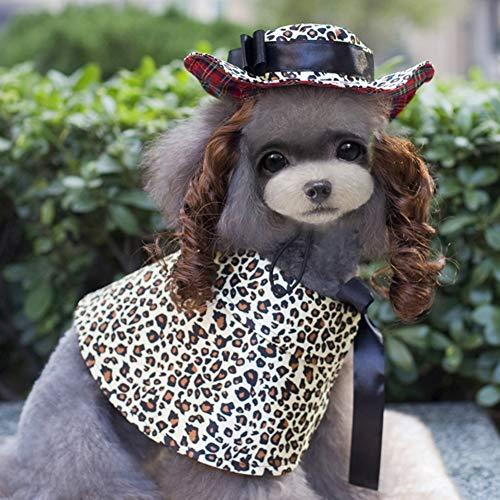 Welpen Kostüm Hund Katze Kostüm Halloween Cosplay Party, Hund Katze Perücke Hut Mantel Zubehör Haustier Outfit Anzug,Leopard,L