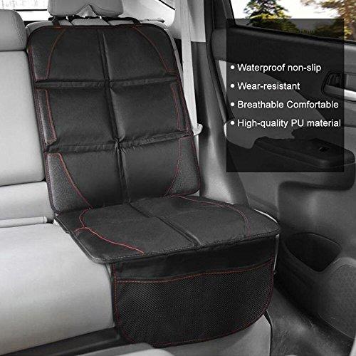 W-top Protector de asiento de coche Antideslizante con organizador bolsillos tamaño universal la mejor funda protectora para los asientos de coche de bebé y niño (Negro)