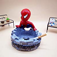prbll Ashtray, creative personality gift, cute jingle cat, cartoon living room ashtray with lid, household ash tank with lid@Grey Spiderman Ashtray